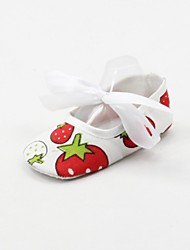 Girls' Baby Flats First Walkers Fabric Spring Fall Casual Outdoor First Walkers Lace-up Flat Heel White Under 1in