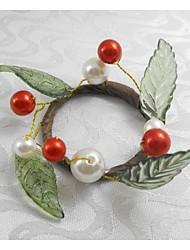 frutta natale rosso perla anello tovagliolo di Natale, acrilico, 1.77inch, set di 12