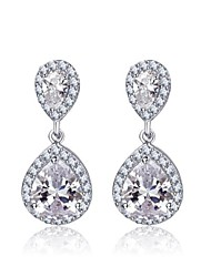 cheap -Double Teardrop Cubic Zircon Dangle Bridal Earrings for Women