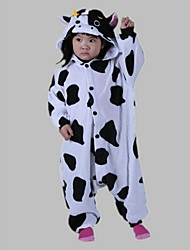 cheap -Kigurumi Pajamas Milk Cow Onesie Pajamas Costume Polar Fleece Cosplay For Kid's Animal Sleepwear Cartoon Halloween Festival / Holiday