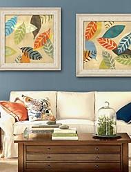 economico -Floreale/Botanical Tele con cornice / Set con cornice Wall Art,PVC Beige Senza passepartout con cornice Wall Art