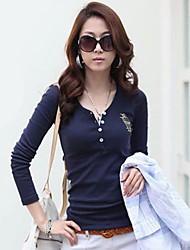 baratos -Mulheres Camiseta Sólido Decote V