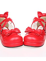 Lolita Shoes Sweet Lolita Lolita Platform Shoes Bowknot 3 CM Black White Red For PU Leather/Polyurethane Leather
