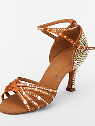 "Women's Latin Ballroom Satin Sandal Rhinestone Flared Heel Brown 2"" - 2 3/4"" Non Customizable"