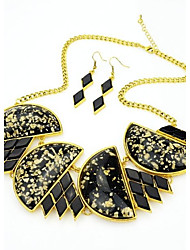 cheap -2014 Costume Latest Unique Design Black Chunky Gemstone Necklace And Earrings Jewelry Set