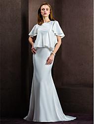 abordables -Fourreau / Colonne Bijoux Traîne Tribunal Satin Robes de mariée sur mesure avec Bouton par LAN TING BRIDE®