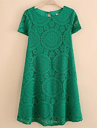 cheap -Women's Solid/Lace Blue/Black/Green Dress, Casual Round Neck Short Sleeve Loose