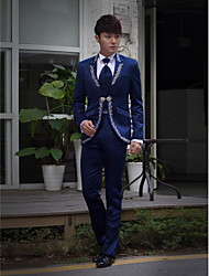 Dark Blue Embroidered Slim Fit Tuxedo In Polyester