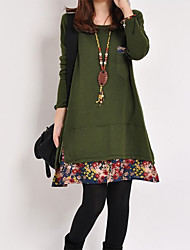 Women's Casual Long Sleeve Flower Dress