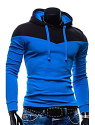 cheap -Men's Daily Casual Hoodie Color Block Cotton Polyester Long Sleeve Fall
