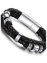 Personality Leather Woven Layers of Male Bracelets of Titanium Steel Ring Christmas Gifts
