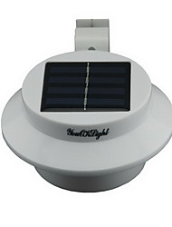cheap -YouOKLight® YL0415 Waterproof 0.3W 40lm 3-LED Warm White Solar Powered Garden Wall Lamp - White
