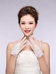 cheap -Tulle Cotton Wrist Length Glove Charm Stylish Bridal Gloves With Appliques Embroidery Solid
