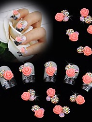 cheap -10pcs Pearl Pink Rose Flower 3D Rhinestone DIY Accessories Nail Art Decoration
