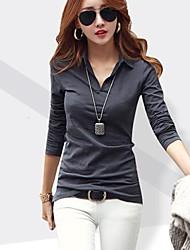 billige -V-hals Dame - Ensfarvet T-shirt