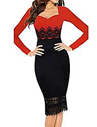 Недорогие -Жен. Облегающий силуэт Платье - Контрастных цветов, Кружева Пэчворк