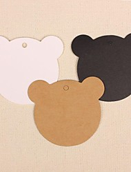 cheap -50pcs Cute Bear Kraft Paper Hang Tags Lables for Bookmark Gift Bakery Packaging Wedding Party Price Cards (More Colors)