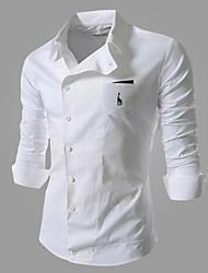 cheap -Men's Plus Size Cotton Shirt - Solid Colored