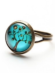 Time Gem Life Tree Art Tree Glass Cabochon Ring (1 Pair)