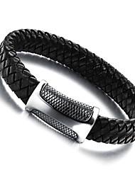European Style Genuine Leather Titanium Steel Magnetic Buckle Men's Bracelet Christmas Gifts
