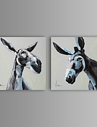 Hand-Painted Animal Two Panels Canvas Oil Painting For Home Decoration