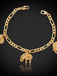 preiswerte -u7® kühlen Elefanten Charme Armband figaro Kette 18K reales Gold überzog Modeschmuck Geschenk für Frauen Männer 21cm