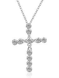 cheap -Men's Women's Cross Cross Pendant Necklace Synthetic Diamond Silver Plated Pendant Necklace , Christmas Gifts Wedding Party Special