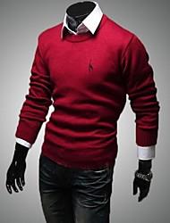 pullover solido da uomo in cotone con ricamo a maniche lunghe