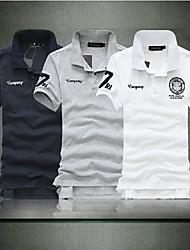 T-Shirts (de Misturas de algodão/Poliéster MEN - Trabalho/Formal/Tamanhos Grandes - Manga Curta