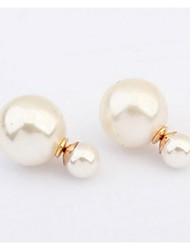 cheap -Women's Stud Earrings Fashion Double Sided European Pearl Jewelry Wedding Party Daily