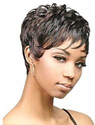 Недорогие -монолитным цветовой гаммы дополнительный короткий высокого качества естественный вьющиеся волосы синтетический парик с боковой челкой