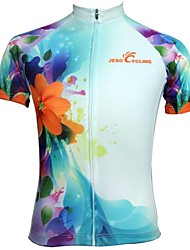 JESOCYCLING Cycling Jersey Women's Short Sleeves Bike Jersey Tops Quick Dry Breathable Sweat-wicking Polyester Floral / Botanical Spring