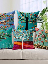 Set of 5 Beautiful Flower Tree Cotton/Linen Decorative Pillow Cover