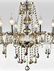 6-luz o estilo de palácio lustre de vidro com vela bulbo