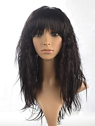 cheap -capless lady s curly long hair wig full bang