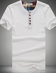 Fritid / Plusstørrelse Ensfarvet Mænds Kortærmet T-shirt Bomuld / Polyester-Sort / Blå / Hvid / Grå