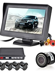 12V 4 Parking Sensors LCD Display Monitor Camera Video Car Reverse Backup Radar System Kit Buzzer Alarm