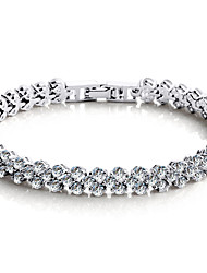 cheap -Women's Chain Bracelet / Tennis Bracelet - Sterling Silver, Crystal, Zircon Love Luxury, Vintage, Party Bracelet Silver For Party / Cubic Zirconia / Cubic Zirconia