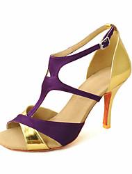 povoljno -Žene Latinski plesovi Salsa Standardni Saten Sandale Kopča Plava Zlatna Žuta Fuksija Ljubičasta Moguće personalizirati
