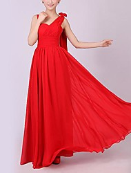 cheap -A-Line Straps Floor Length Chiffon Bridesmaid Dress with Criss Cross by LAN TING Express