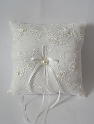 Ivory Square Ring Pillow With Ribbon