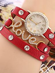 Damen Armband-Uhr Quartz Strass Imitation Diamant PU Band Bettelarmband Schwarz Rot