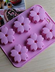 6 buracos moldes flores de cerejeira forma de bolo de gelo geléia de chocolate, silicone 15 × 14,5 × 1,5 centímetros (6,0 × 5,8 × 0,6 polegadas)