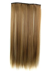 24 Inch 120g Long Synthetic Straight Clip In Hair Extensions with 5 Clips Hairpiece