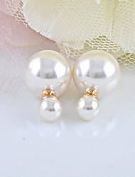cheap -Stud Earrings Pearl Imitation Pearl White Jewelry 2pcs
