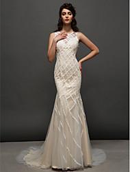 Sereia Decorado com Bijuteria Cauda Corte Tule Vestido de casamento com Renda de LAN TING BRIDE®