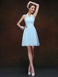 cheap -Sheath / Column Halter Short / Mini Chiffon Bridesmaid Dress with Ruching by LAN TING BRIDE®
