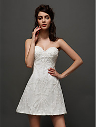 cheap -A-Line Sweetheart Neckline Short / Mini Tulle Made-To-Measure Wedding Dresses with Appliques by LAN TING BRIDE® / Little White Dress