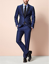 abordables -bleu foncé 85% polyester 15% rayonne coupe près du corps en deux parties smoking