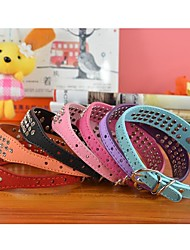 Cat / Dog Collar Rhinestone Red / Black / Blue / Pink / Purple / Orange / Rose PU Leather